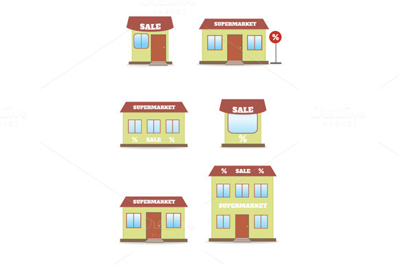 Supermarket Shop Store Icon Set