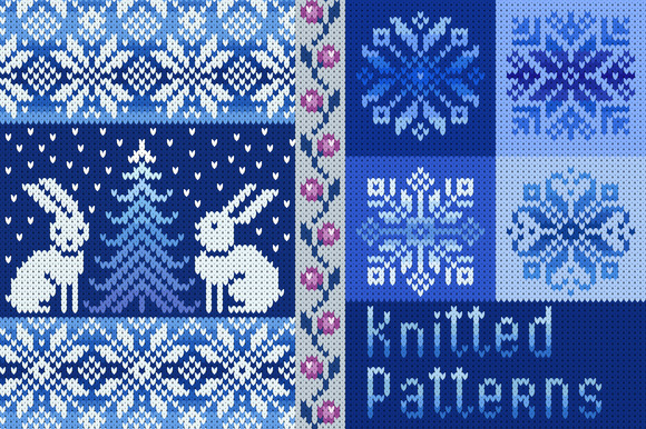 Set Of Knitted Seamless Patterns