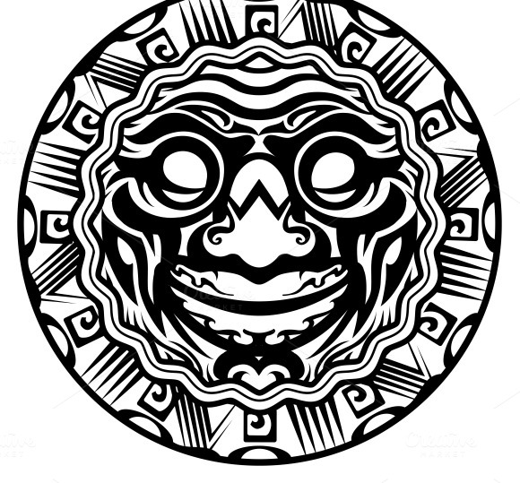Smiling Face Polynesian Tattoo