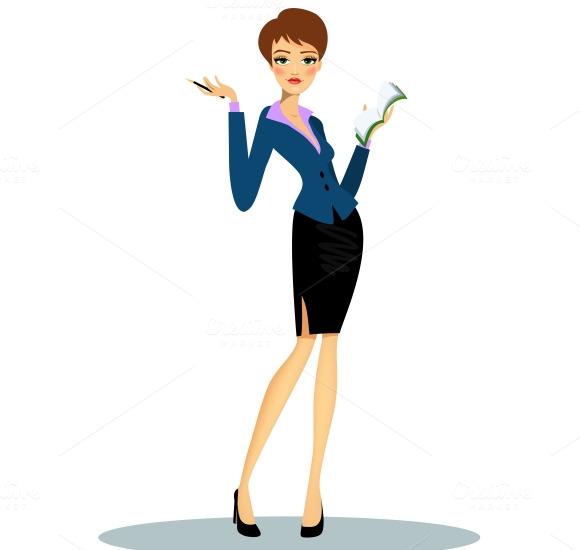 Cartoon Female Secretary