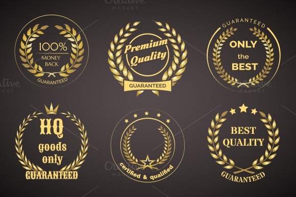 Retro Guarantee Labels With Wreaths