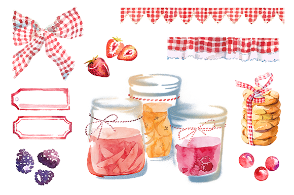 Watercolor Berry Jam Clipart Set