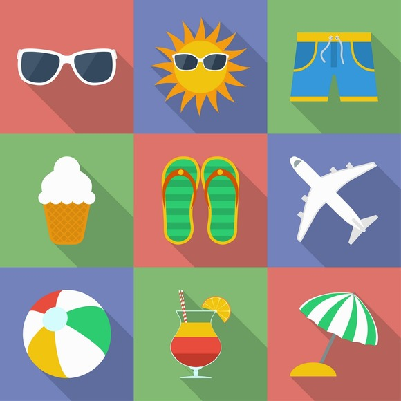 Set Of Icons Of Summer Travel Theme