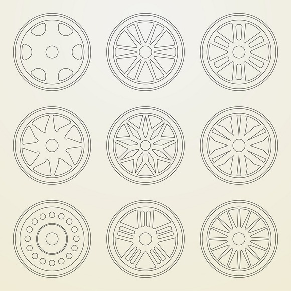 Set Of 9 Icons Of A Car Rims