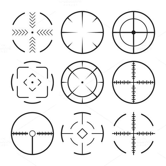 Set Of 9 Black Crosshair Icons
