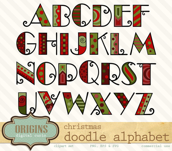 Christmas Doodle Alphabet Clipart