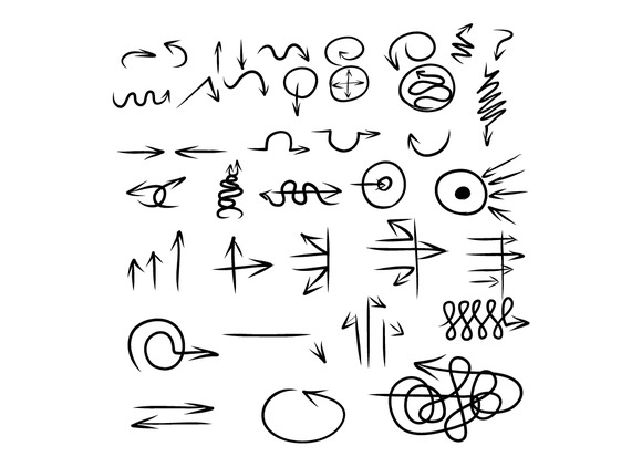 Hand Drawing Many Styles Of Arrow