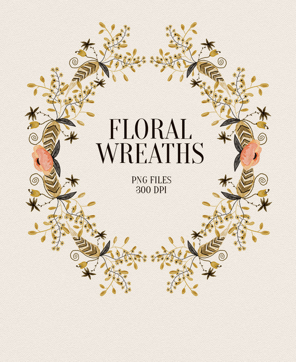 4 Floral Wreaths