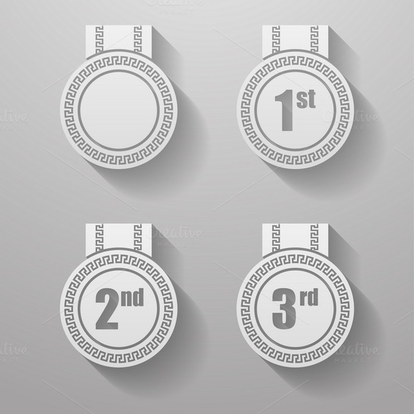 Set Of Paper Badges With Ribbons
