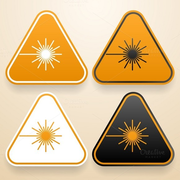 Set Of Triangular Laser Signs