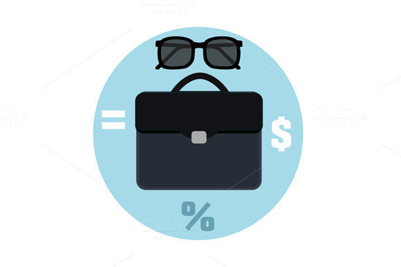 Icon Briefcase And Sunglasses