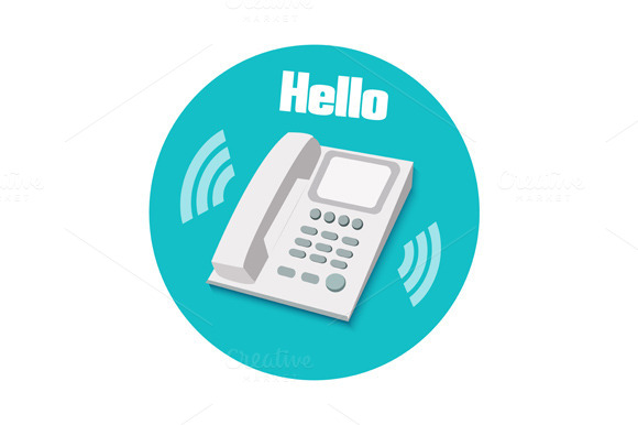 Phone In Flat Design Landline Phone