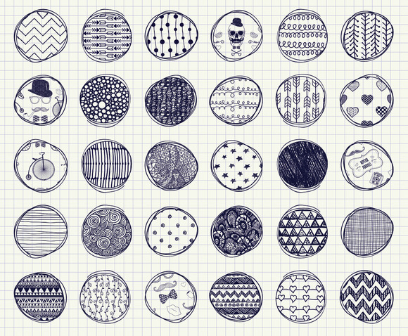 32 Pen Drawing Seamless Patterns