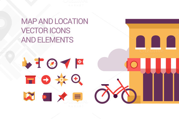 Map And Location Elements And Icons