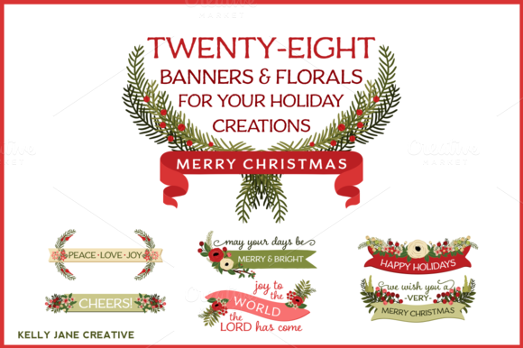 Christmas Banners Florals
