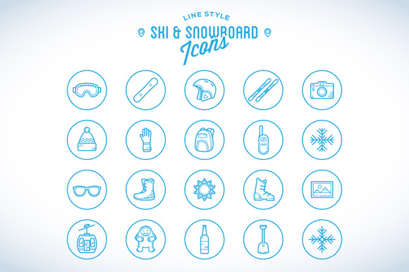 Line Style Ski Snowboard Icons