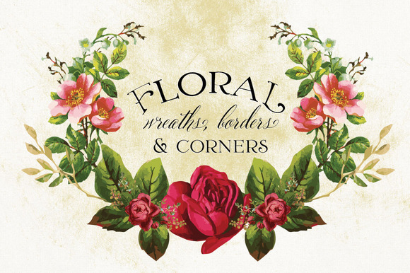 Floral Wreaths Borders Corners