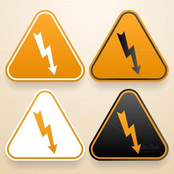 Set Of Hi Voltage Warning Signs