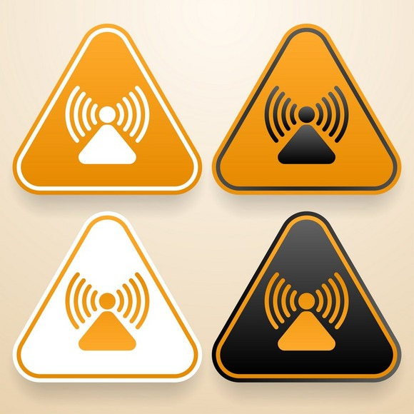 Set Of Raying Warning Signs