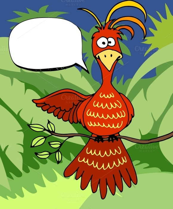 Cute Cartoon Bird With Speech Bubble