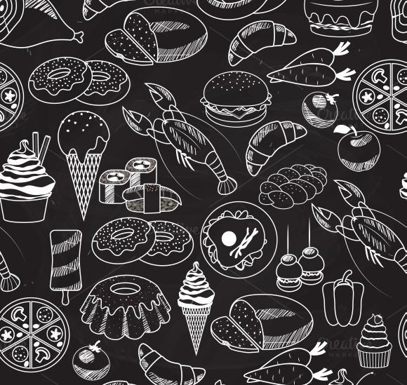 Seamless Food On Chalkboard