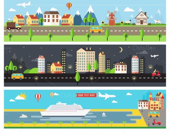 Vector City Landscape Banners