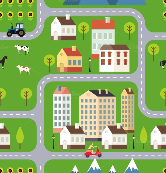 Seamless Vector Town Background