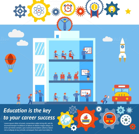 Vector Education To Success Design