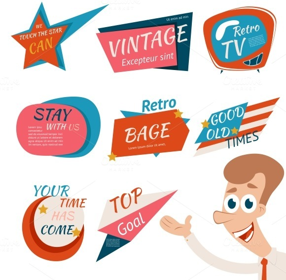 Vintage Style Retro Badges Emblems
