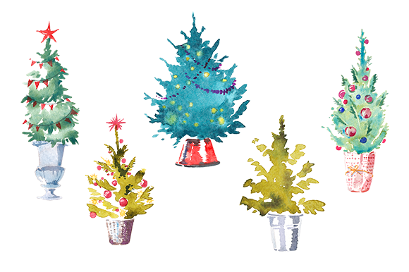 Watercolor Set Of 5 Christmas Trees