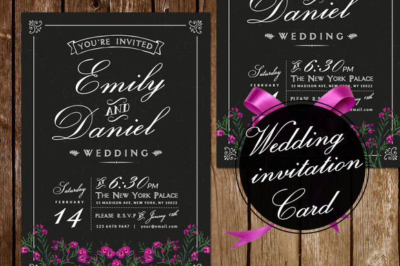 Black White Wedding Invitation