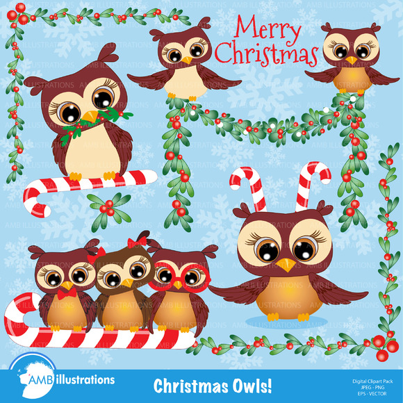 Christmas Owls Clipart 278