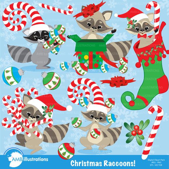 Christmas Raccoons Clipart 281
