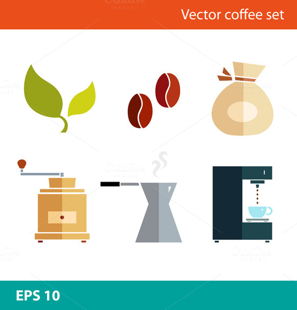 Coffee Vector Flat Set