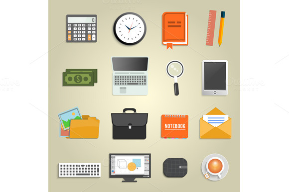 Set Of Financial Service Items