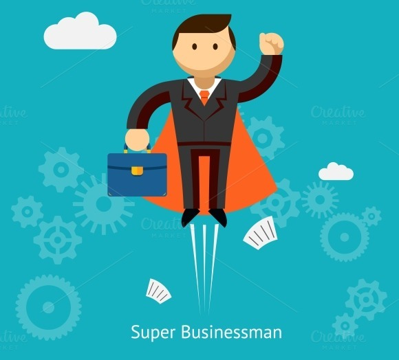 Flying Super Businessman