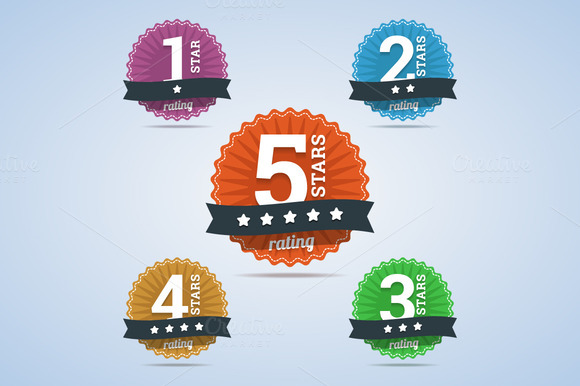 Rating Badges From One To Five Stars