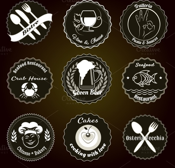 Retro Restaurant Menu Badges
