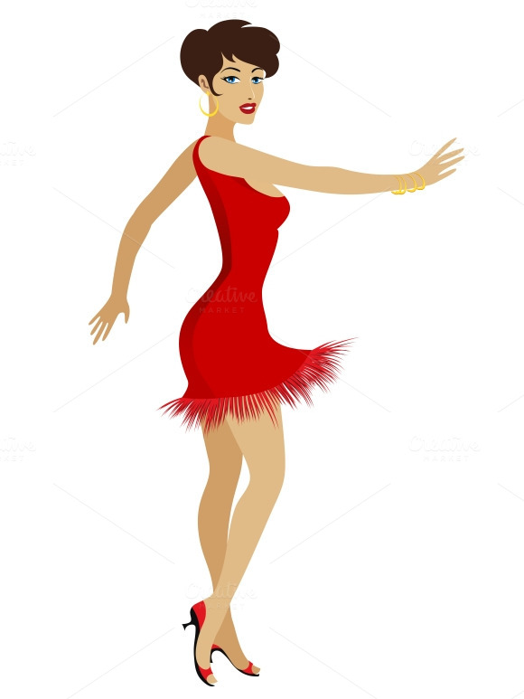 Dancing Pretty Woman In Red Dress