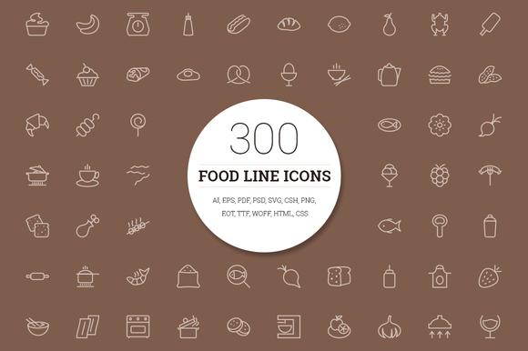 300 Food Line Icons