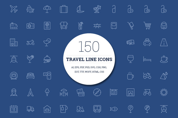 150 Travel Line Icons