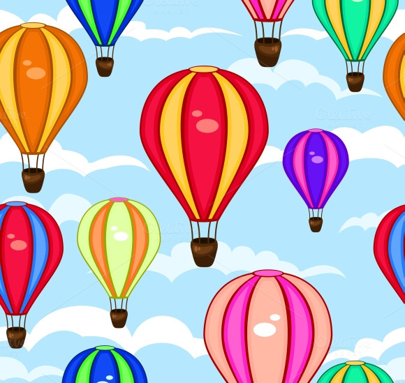Seamless Pattern Of Hot Air Balloons