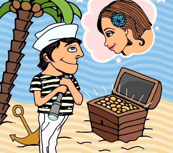 Love In Venice Vector Illustration