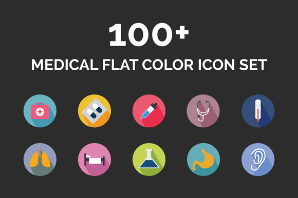 100 Medical Flat Color Icon Set