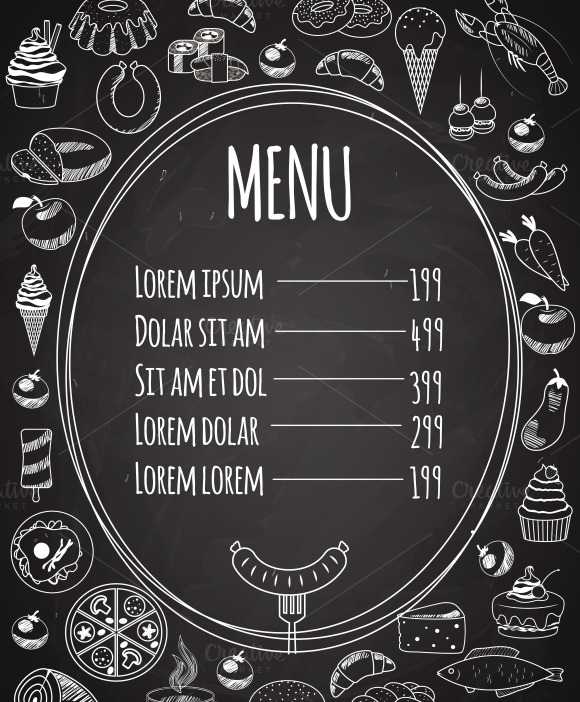Seamless Food Menu On Chalkboard