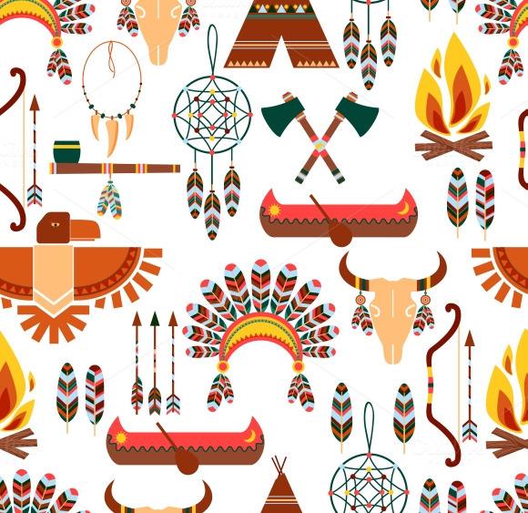 American Tribal Seamless Pattern