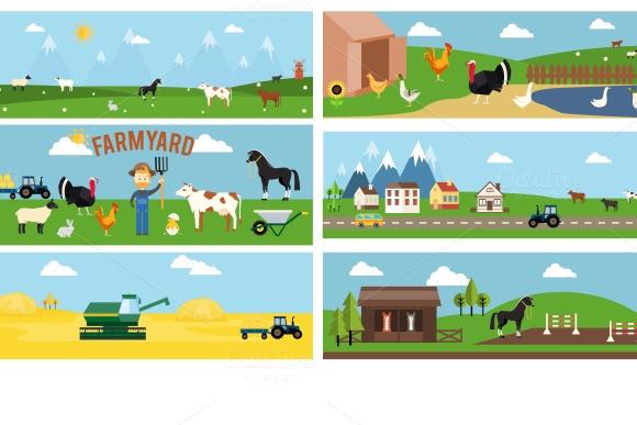 Beautiful Farmyard Cartoon Banners