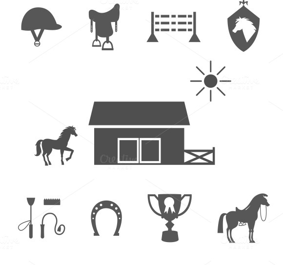 Grayscale Horse Icons