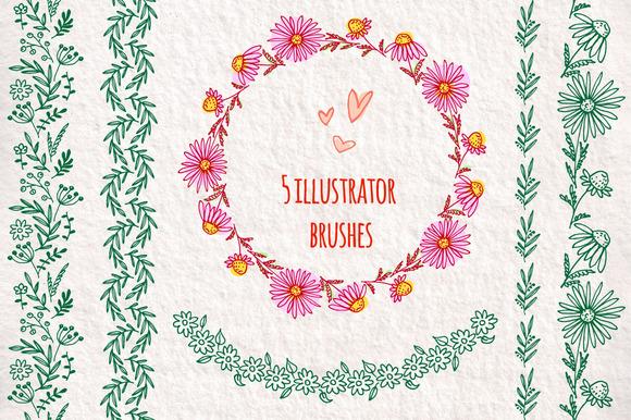 Set Of Floral Illustrator Brushes