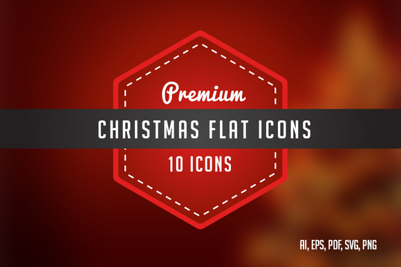 10 Premium Christmas Flat Icons
